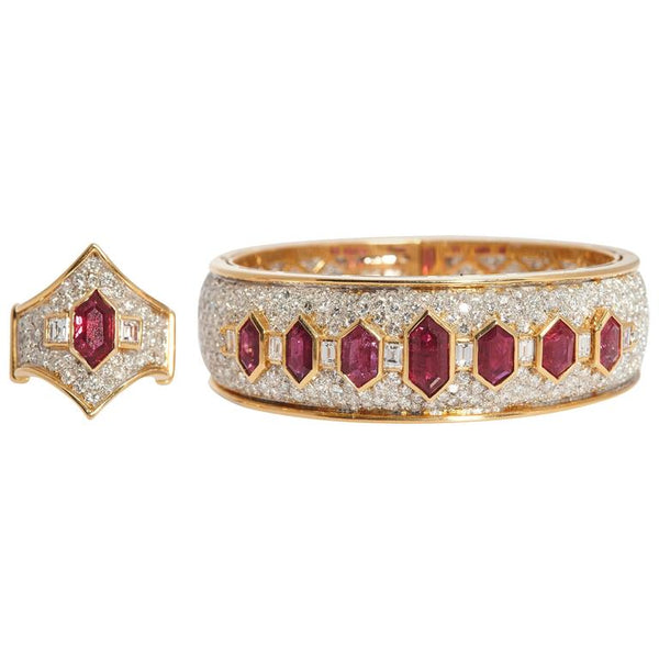 1980s Italian Ruby & Diamond Set
