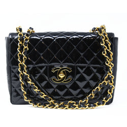 Chanel Vintage Patent Leather Jumbo Double Flap Bag