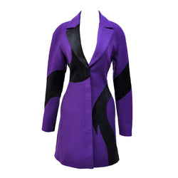 VERSACE Purple Wool Coat with Leather Details