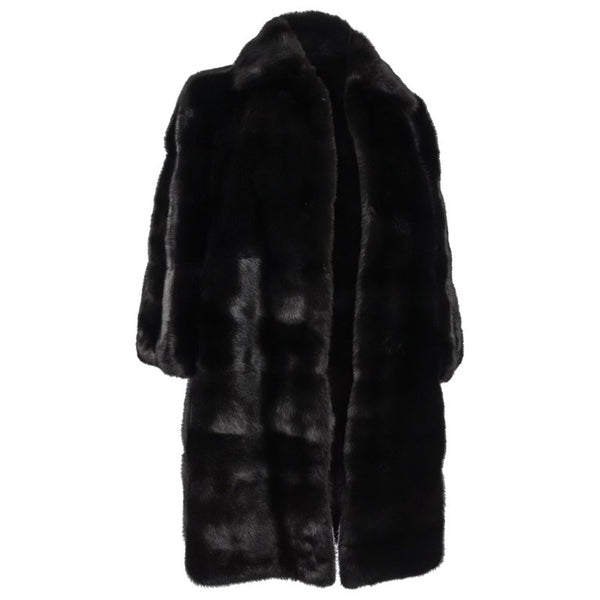 Gucci Coat Black Glossy Mink 3/4 Sleeve Knee Length 42 / Fits 6 to 8