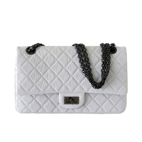 Chanel Bag 2.25 Small Chalk White Distressed Leather Double Flap