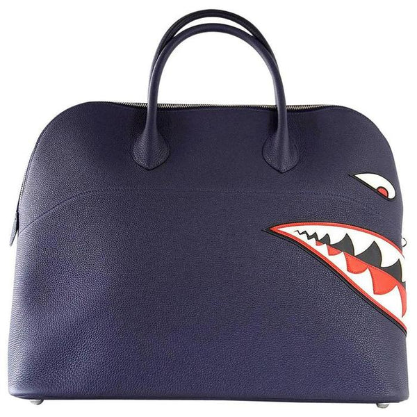 Hermes Bolide Runway Bag Shark Monster Unisex Blue Indigo Limited Edition