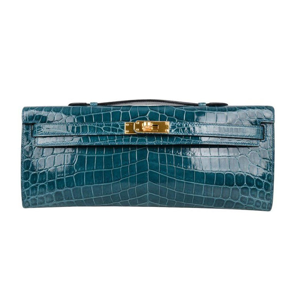 Hermes Kelly Cut Bleu Colvert Crocodile Gold Hardware Clutch Bag