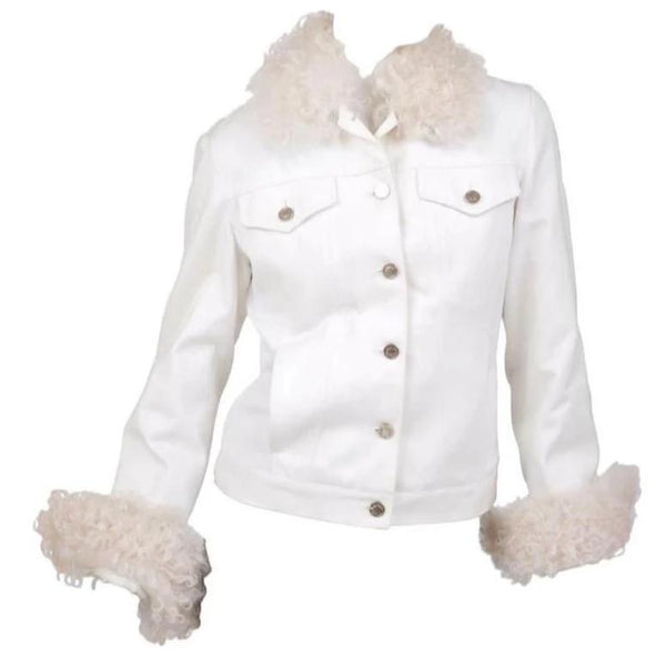 Tom Ford for Gucci White Denim and Lamb Fur Jacket