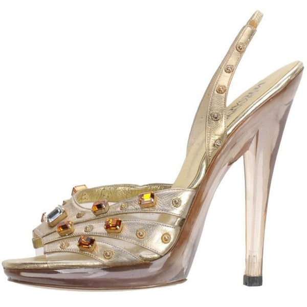 RARE VINTAGE GIANNI VERSACE CRYSTAL and STUD EMBELLISHED PLATFORM SHOES