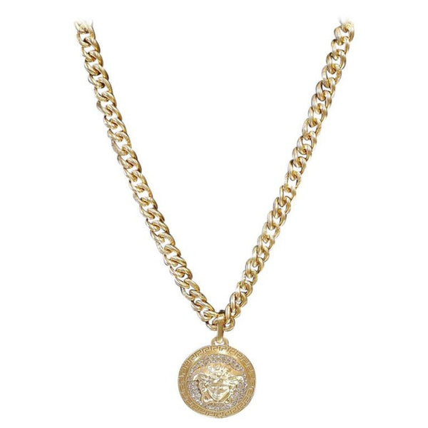 VERSACE 24K Gold plated crystal embellished chain necklace