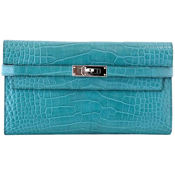 Hermes Kelly Longue Long Wallet / Clutch Blue Paon Matte Alligator PHW