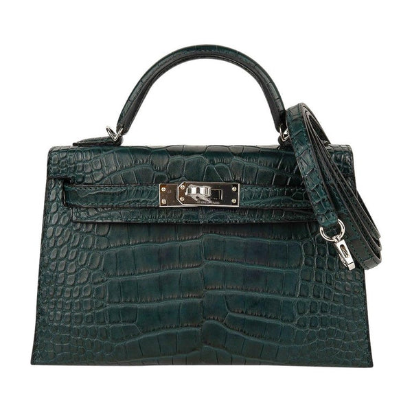 Hermes Kelly 20 Mini Sellier Bag Vert Cypress Matte Alligator Palladium