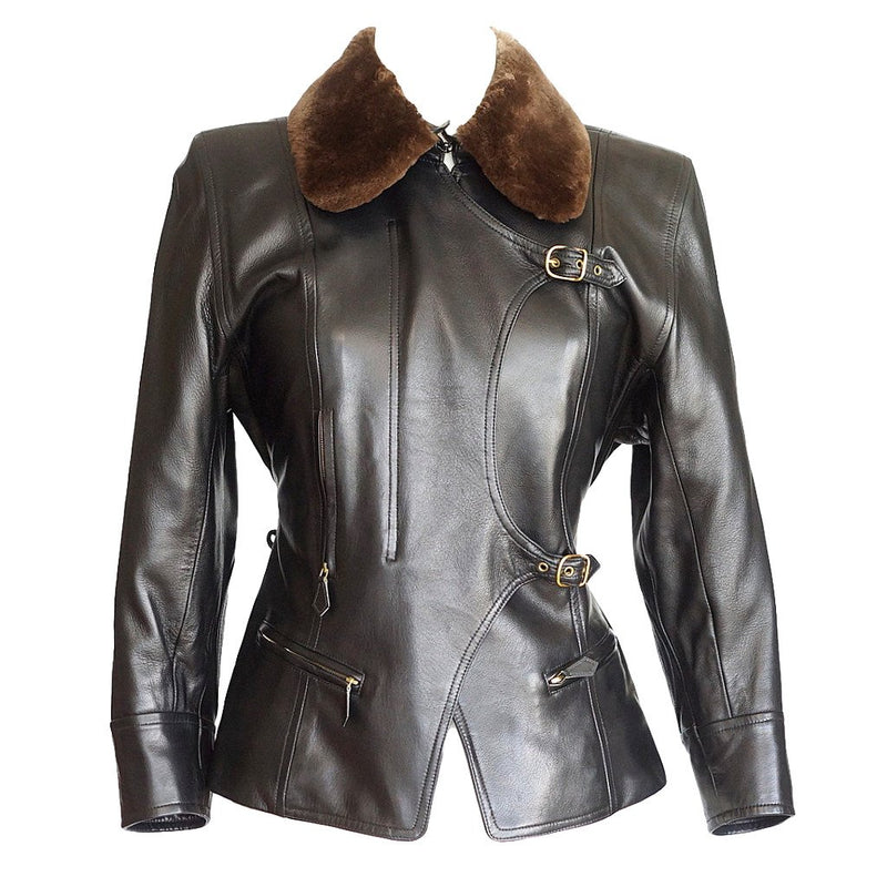 Hermes Vintage Leather Jacket with Detachable Fur Collar 42
