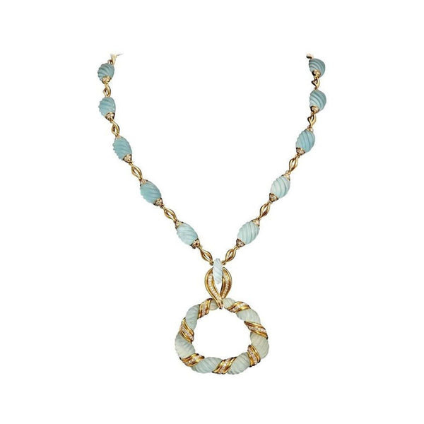 Frosted Aquamarine Diamond Gold Necklace