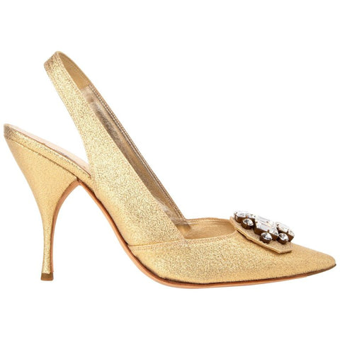 Miu Miu Shoe Metallic Gold Shaped Slingback Brilliant Jeweled Diamante 40 / 10