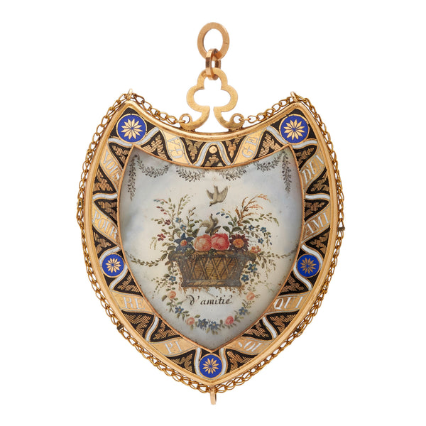 Victorian Antique Friendship Pendant in Yellow Gold with Pearls, Mother-Of-Pearl, and Enamel