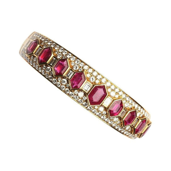 Bulgari Hexagonal Cut Ruby and Diamond Bracelet