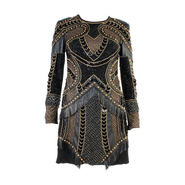 Versace Crystal and Stud Embellished Leather Dress with Fringe