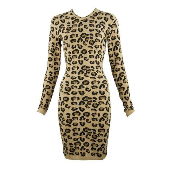 Alaia Vintage Leopard V Neck Dress 1991