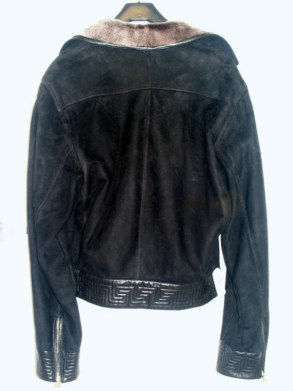 2002 RARE VINTAGE GIANNI VERSACE BLACK SHEARLING LEATHER BIKER JACKET for MEN