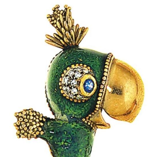 Frascarolo Parrot Novelty Brooch with Green Enamel, Sapphire and Diamond
