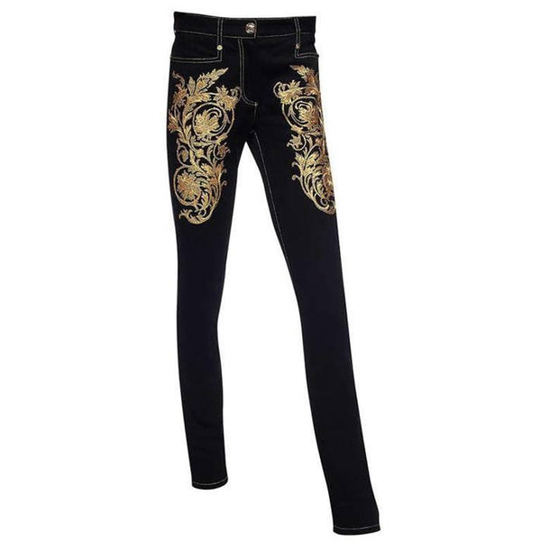 Versace Baroque Gold Embroidered Jeans