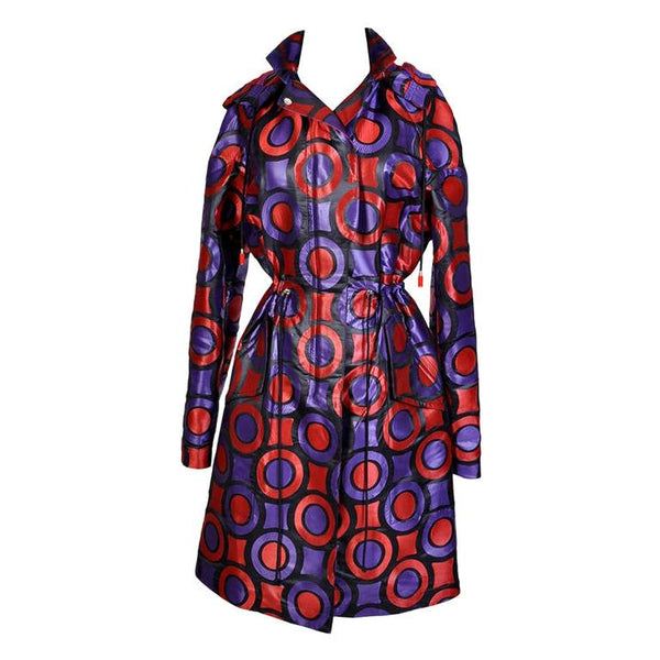 VERSACE Purple and Red Geometric Print Textured Jacquard Trench Coat with Hood