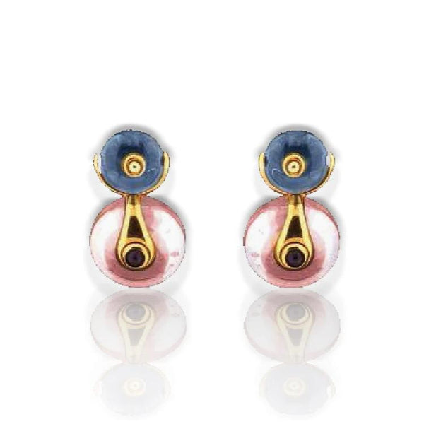 Marina B 'Cardan' Quartz and Onyx Clip Earrings in 18kt Yellow Gold