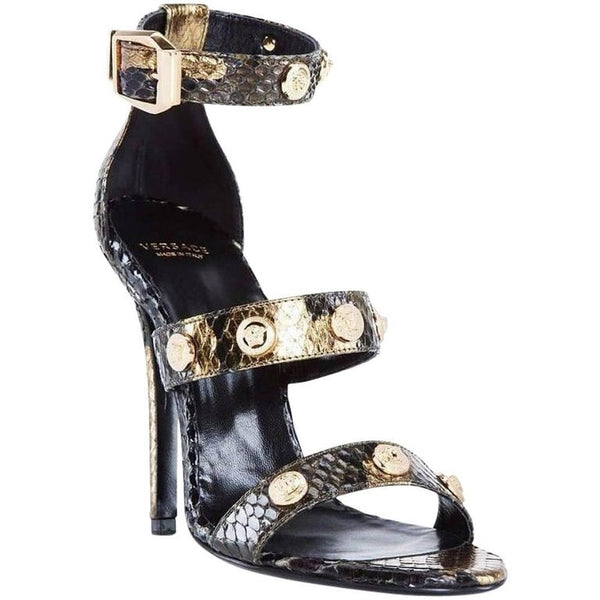 Sold Out Everywhere! VERSACE PYTHON SIGNATURE MEDUSA STUDDED SANDALS