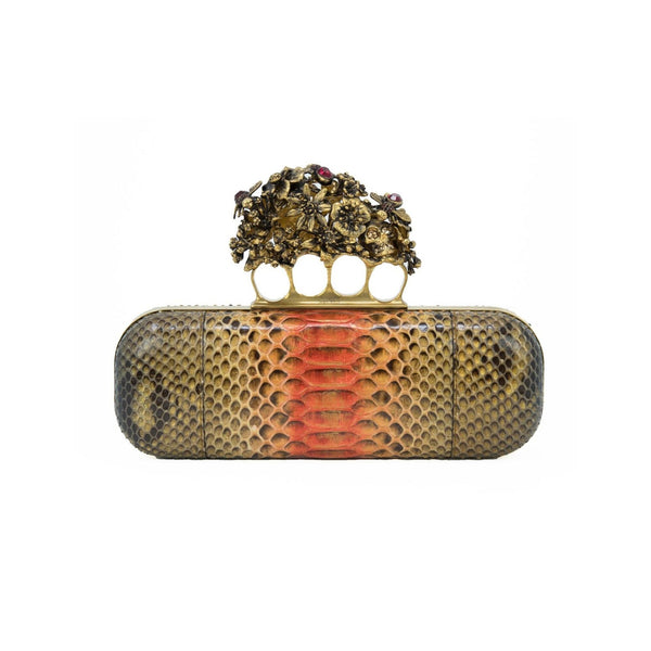 Alexander McQueen Snakeskin Clutch with Floral Ring Embellishments