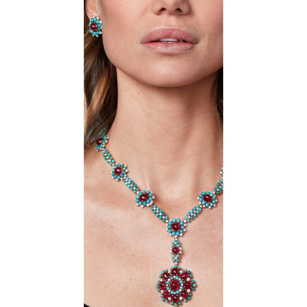 Turquoise, Ruby and Diamond Demi-Parure