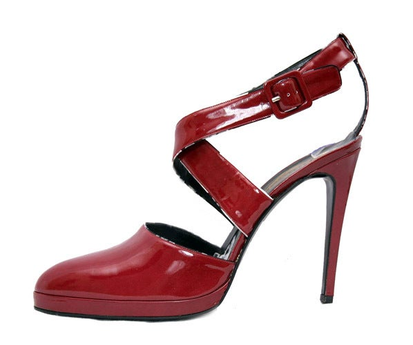New VERSACE ATELIER BURGUNDY RED PATENT LEATHER PLATFORM SHOES 41 11