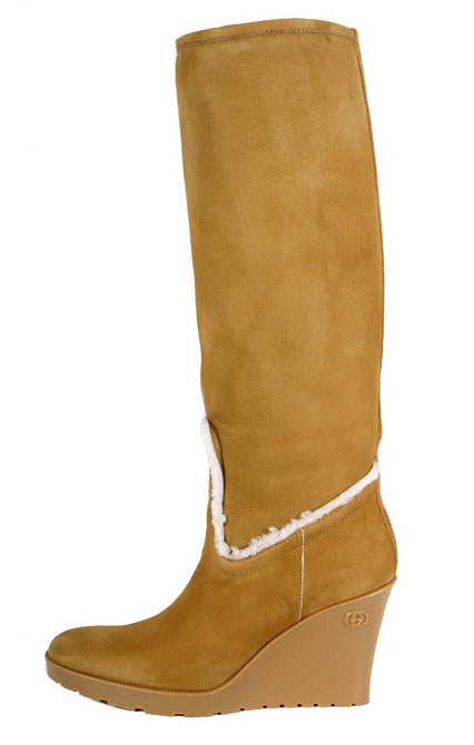 NEW GUCCI LIGHT COGNAC MERINO LAMBSKIN SHEARLING WEDGE BOOTS
