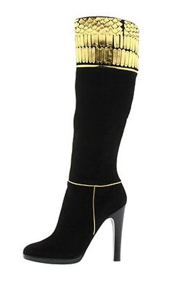 Roberto Cavalli Embellished Black and Gold Suede Knee-High Boots