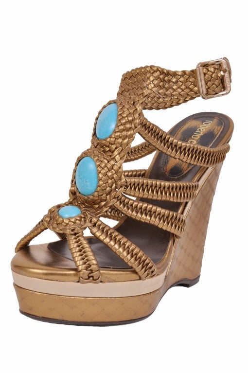 Roberto Cavalli nappa laminated wedge embellished with stones