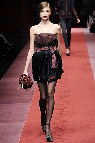 Dolce & Gabbana strapless embellished silk velvet dress