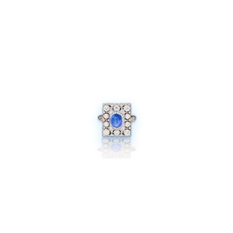 Buccellati 18kt White Gold Rectangular Diamond Ring with Blue Sapphire