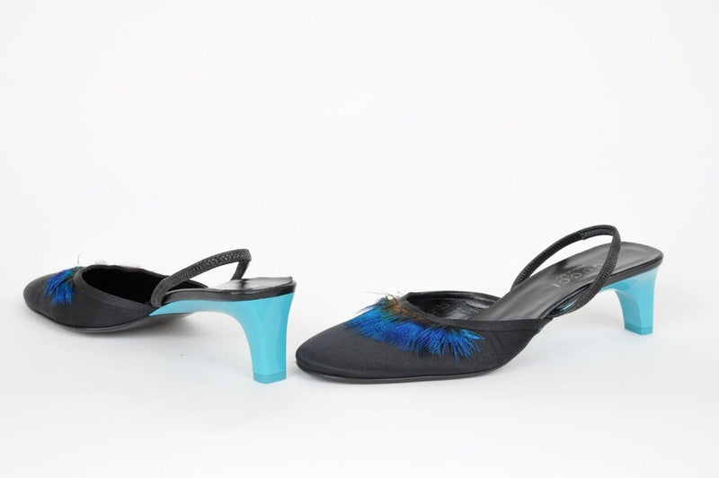 NEWS/S 99 TOM FORD for GUCCI BLACK CREPE SATIN SHOES WITH BLUE FEATHERS