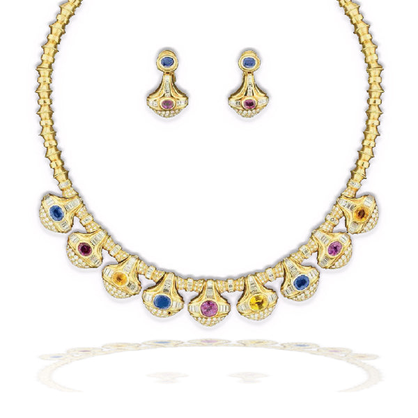 Gold Buccellati Necklace & Earrings Demi-Parure with Blue Sapphire, Pink Sapphire, Ruby, Diamond & Citrine