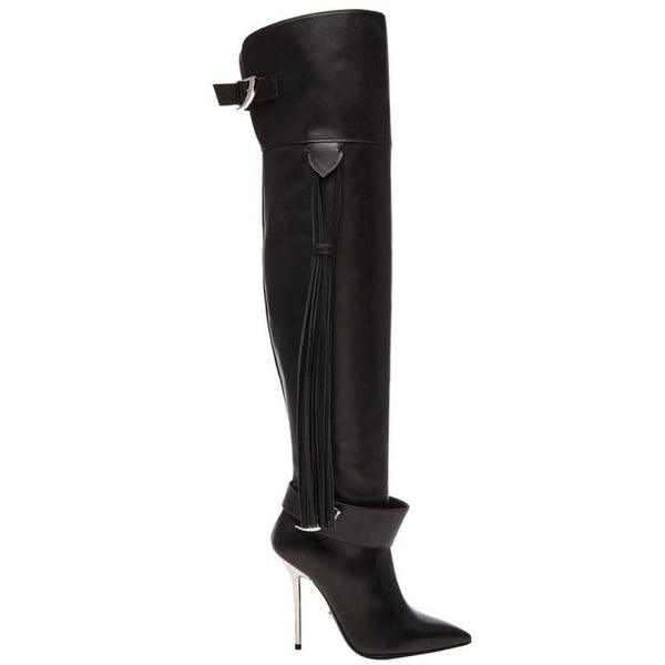 Versace Black Leather Thigh High Boots with Tassel