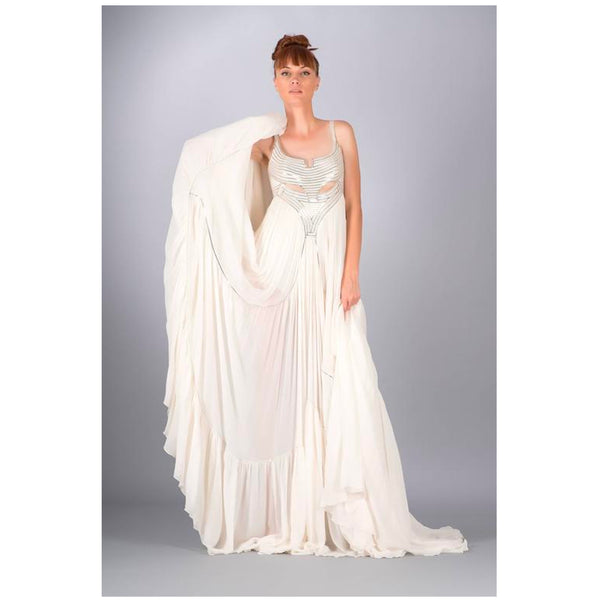 New VERSACE METAL EMBELLISHED WHITE SILK GOWN