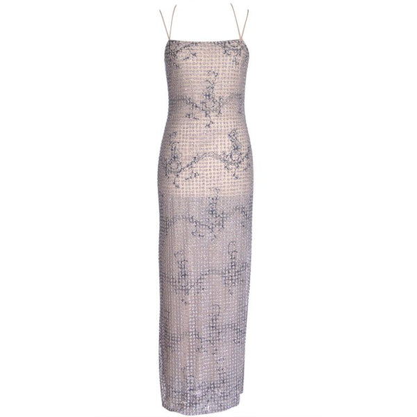 Giorgio Armani Dress Beaded Fleurette on Tulle Formal Gown NW 40 / 6