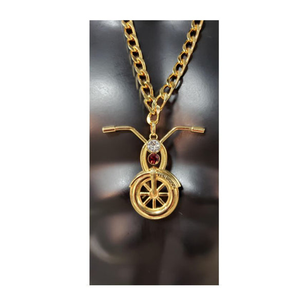 Versace Runway 24k Plated Motorcycle Pendant Chain Necklace