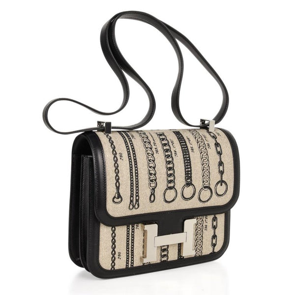 Hermes Dechainee Constance Toile De Camp Black Swift Bag