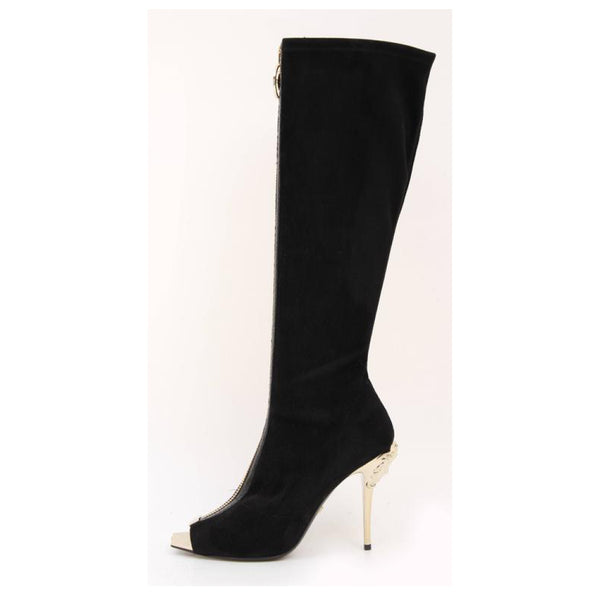 VERSACE Knee High Black Suede Boots with gold Medusa heel and open toe