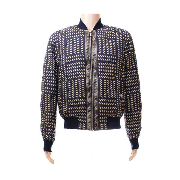 VERSACE BLUE GOLD MEDUSA PRINT QUILTED 100% SILK JACKET for MEN