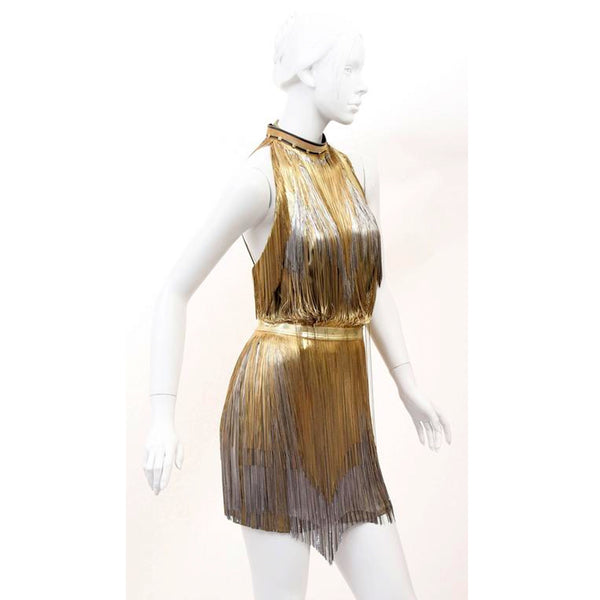 Versace Atelier Gold Metal Fringe Tie Dyed Gabardine Dress