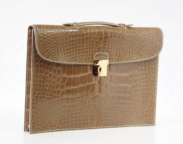 Hermes Quirus Briefcase / Portfolio / Attache Ficelle Alligator Gold Hardware