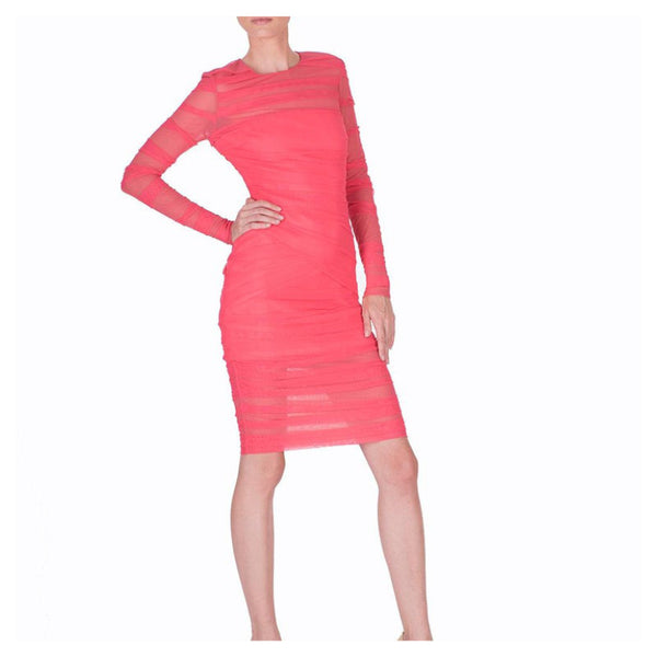 VERSACE KNEE LENGTH RASPBERRY PINK TULLE BODYCON DRESS