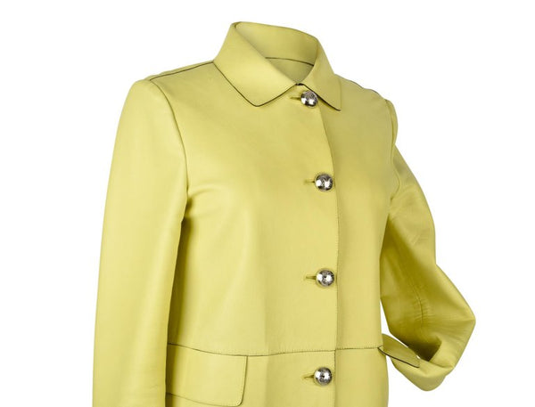 Gucci Coat Lambskin Leather Lime Yellow 40 / 8