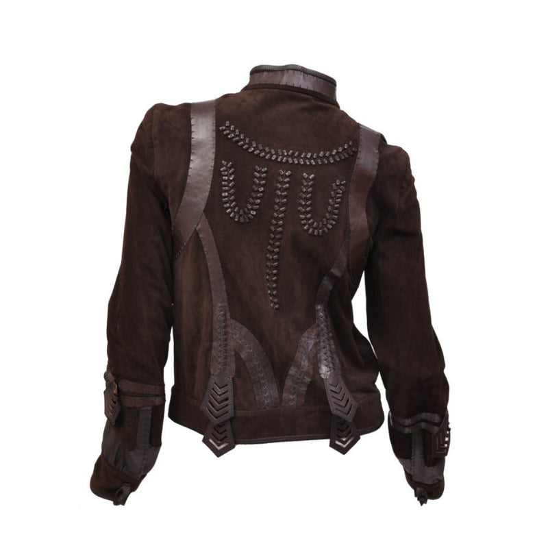 Fendi Embellished Leather Jacket in Chocolate Brown
