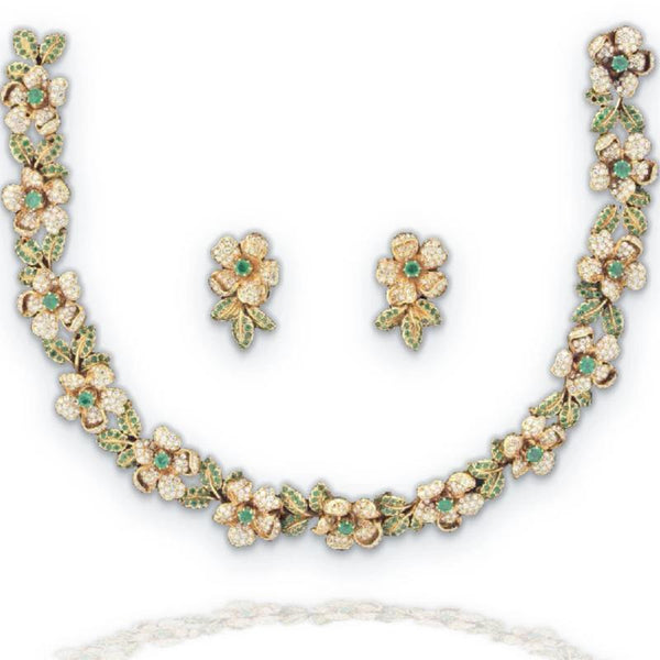 Petochi Demi-Parure Floral Motif Gold & Emerald Necklace and Earrings Set