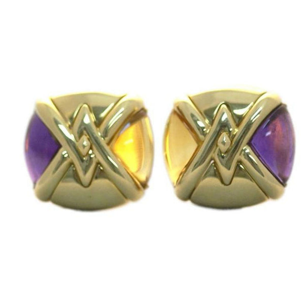Bulgari Saetta Citrine Amethyst Gold Ear-Clips