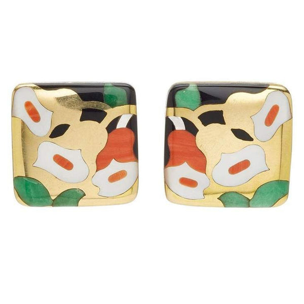 Asch Grossbardt Gold Onyx Coral Earrings
